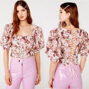 🍋 For Love and Lemons Floral Lace Up Blouse Top